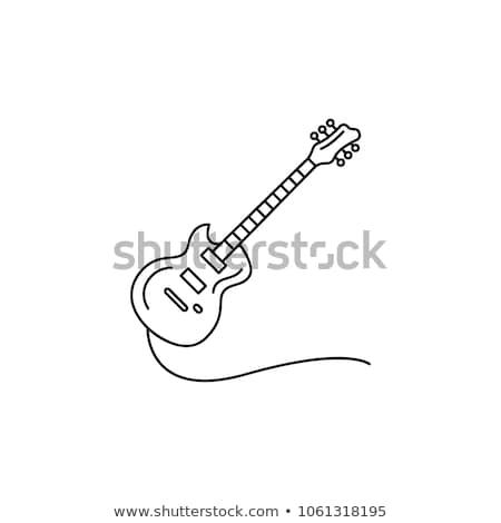 elektrische · gitaar · lijn · icon · hoeken · web · mobiele - stockfoto © rastudio