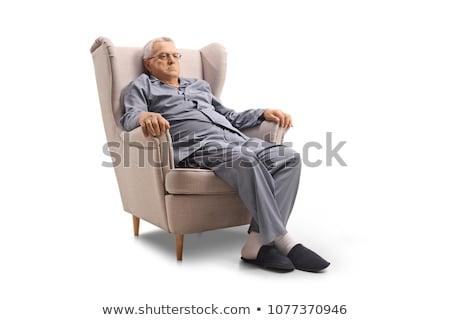Grincheux vieillard pyjama barbe moustache Photo stock © ozgur