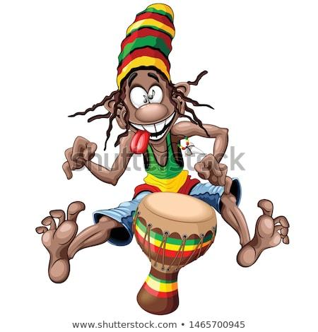 Férfi dob szín játszik reggae füst Stock fotó © alexanderandariadna