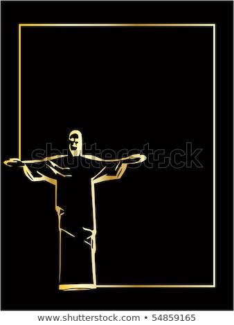 Foto stock: He Vector Iesus Christ Rio De Janeiro Statue Silhouette