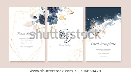 Kék virágmintás meghívó sablon illusztráció kép Stock fotó © Irisangel