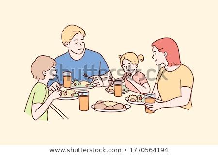 mesa · de · jantar · ilustração · colheres · placas · abstrato · projeto - foto stock © bluering