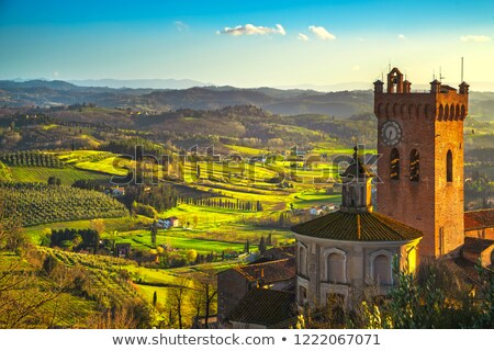 Tuscan rural landscape with church Stock photo © Digifoodstock