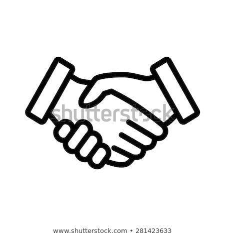 Ikonok kezek illusztráció fehér háttér felirat Stock fotó © bluering
