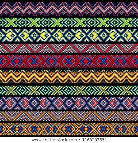 アフリカ · クローズアップ · 幾何学模様 · 背景 · オレンジ · 青 - ストックフォト © lienkie