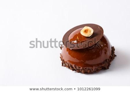 Mini torták fehér csokoládé tányér desszert Stock fotó © Digifoodstock