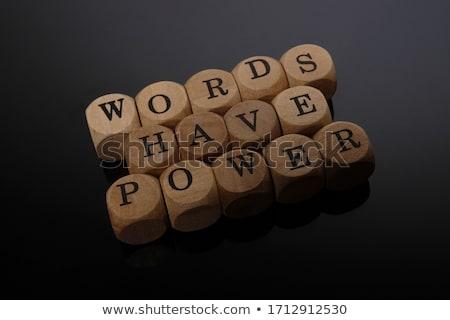 Szavak erő szöveg jegyzettömb színes ceruzák Stock fotó © fuzzbones0