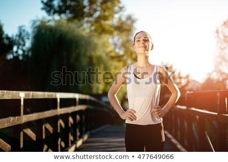 Gezond leven vruchten sport oranje vloer witte Stockfoto © racoolstudio