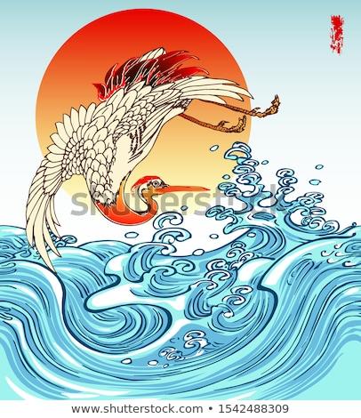 Mavi dalgalar kırmızı güneş Japon stil Stok fotoğraf © ConceptCafe