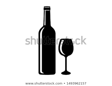 vector icon of red wine bottle glass and grapes stock photo © freesoulproduction