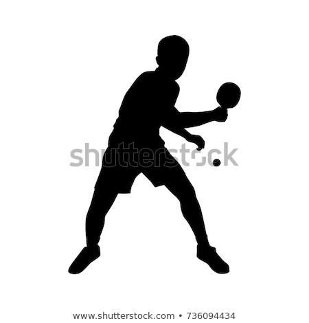 asztalitenisz · játékos · adag · sport · férfiak · zöld - stock fotó © pedromonteiro