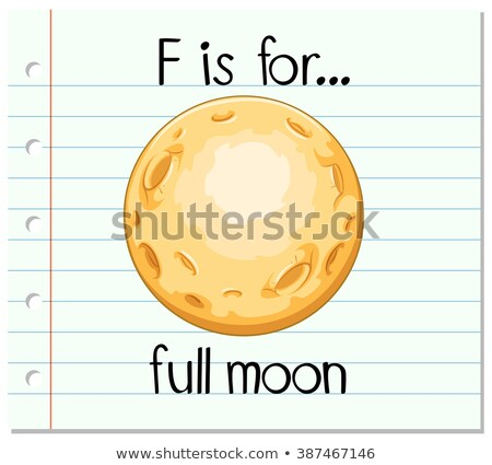 Flashcard letter F is for full moon Stock photo © bluering