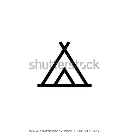 Turisztikai sátor ikon szürke zöld felirat Stock fotó © angelp