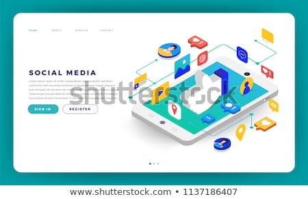 Social media 3D isometrische vector iconen desktop Stockfoto © fresh_5265954
