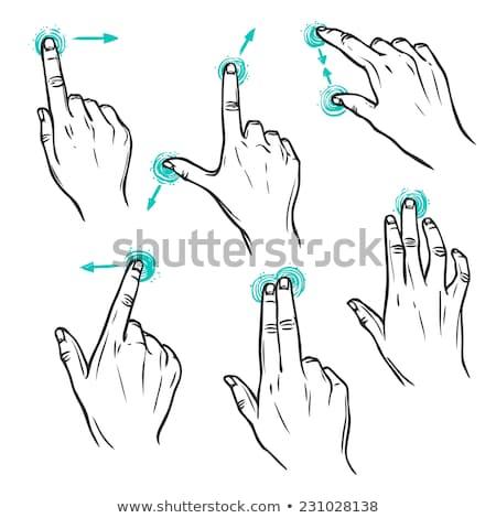 Touchscreen · Geste · Skizze · Symbol · drehen · Vektor - stock foto © rastudio
