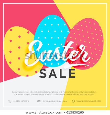easter sale banner with colorful three eggs stock photo © SArts