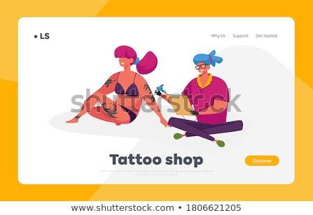 woman working with sketches in parlour stock photo © dash