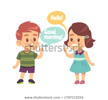 Boy and girl with word thanks Stock photo © bluering