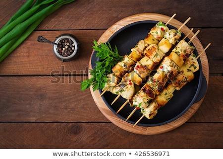 Grillcsirke nyárs étel tábla bors barbecue Stock fotó © M-studio