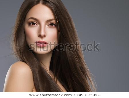 Primo piano ritratto giovani bruna ragazza poco profondo Foto d'archivio © lithian