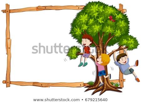 kinderen · klimmen · boord · illustratie · kind · achtergrond - stockfoto © bluering