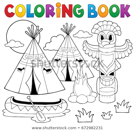 Coloring book Native American campsite Stock photo © clairev