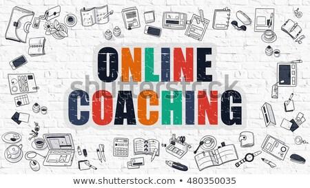 Online Coaching Concept. Multicolor on White Brickwall. Stock photo © tashatuvango