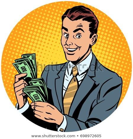 üzletember pénz pop art avatar karakter ikon Stock fotó © studiostoks