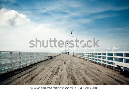 Stock fotó: Fából · készült · móló · vízpart · naplemente · napfény · eltűnik