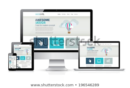 homepage · 3D · gegenereerde · foto · Blauw · website - stockfoto © tashatuvango