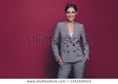 portret · jonge · zakenvrouw · pak · werken · laptop · computer - stockfoto © deandrobot