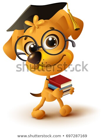 yellow dog teacher holds stack of books stock photo © orensila