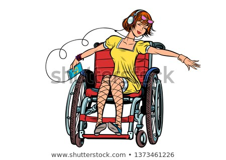 Dancing girl in a wheelchair, audio and music Stock photo © studiostoks