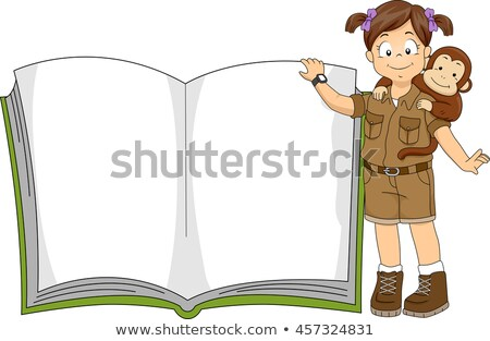 Criança menina safári livro ilustração little girl Foto stock © lenm
