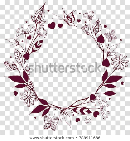 Round frame floral ornament on transparent background. Flowers and leaves, butterfly summer season Stock photo © orensila