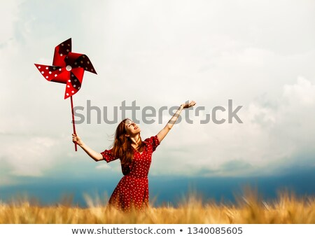 Girl with in a pinwheel in a field Stock photo © IS2