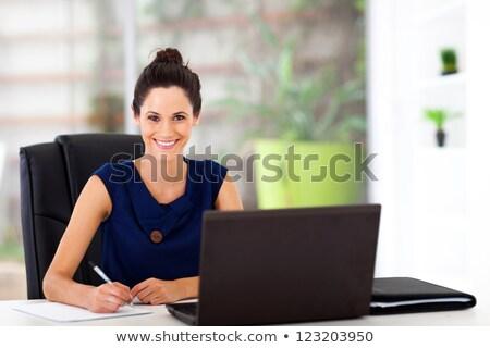 Mujer atractiva azul vestido atractivo Foto stock © filipw