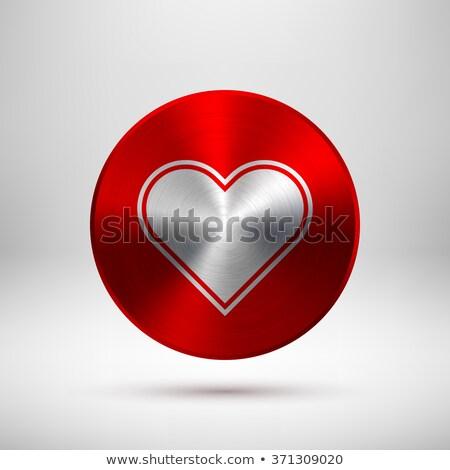 Kırmızı soyut kalp imzalamak metal doku rozet Stok fotoğraf © molaruso
