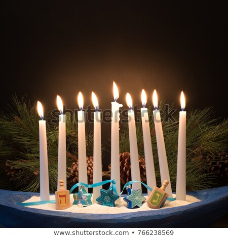 Happy Hanukkah with candles and pine Stock photo © bluering