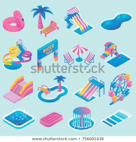 Kids water park attraction isometric 3D element Stock photo © studioworkstock