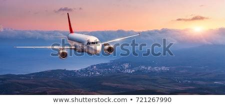 Jet плоскости Flying город закат иллюстрация Сток-фото © bluering