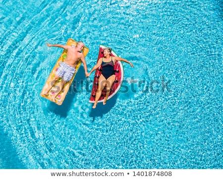 esmer · yüzme · havuzu · mutlu · güzellik · bikini · seyahat - stok fotoğraf © is2