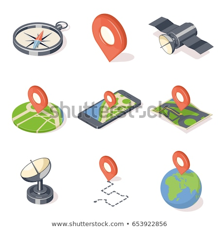 marker isometric icon isolated on color background stock photo © sidmay