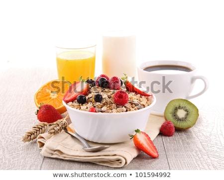 cornflakes · bes · vruchten · glas · aardbei · ontbijt - stockfoto © m-studio