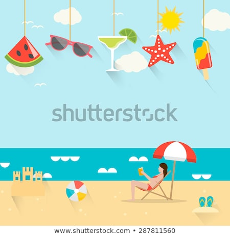 Nyár lányok napozás nap esernyők tengerpart Stock fotó © ikopylov