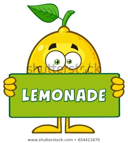Jaune citron fruits frais feuille verte mascotte dessinée personnage Photo stock © hittoon