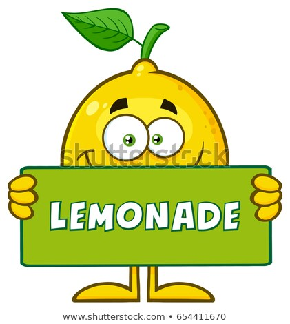 Geel citroen vers fruit groen blad cartoon mascotte karakter Stockfoto © hittoon