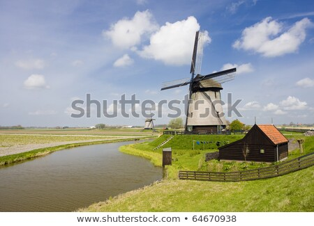 Hollandia · szélmalom · malom · szabadtér · kívül · épületkülsők - stock fotó © phbcz