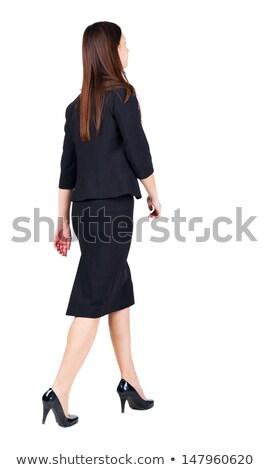 Iş kadını poz geriye doğru yalıtılmış beyaz kadın Stok fotoğraf © hsfelix