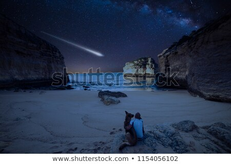 Couple on the beach looking at the stars and comet Stock photo © alexanderandariadna